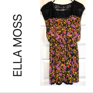 2 Piece Floral and Black Lace Dress by Ella Moss